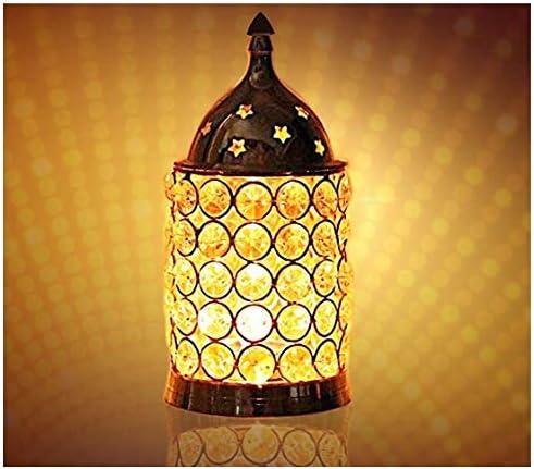 CRAFTSMAN Crafts man Diwali Gift Diwali Deepawali Decoration Akhand Diya Decorative Brass Crystal Oil Lamp Tea Light Holder Lantern Pillar Shape Puja Lamp 7 INCH .Indian Gift Items