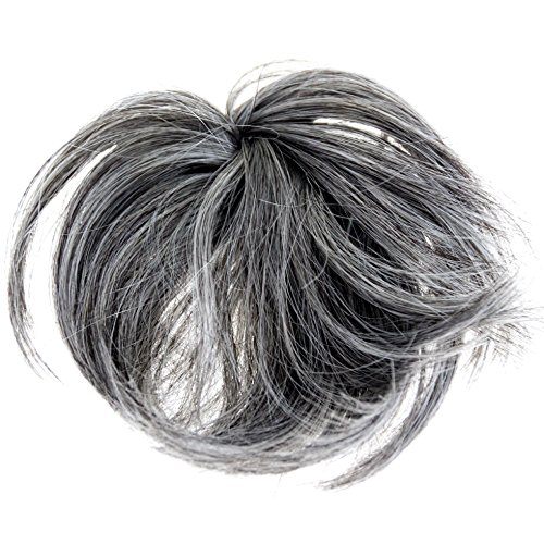(New Style Hair Extension Scrunchie Up Do Down Do Spiky Twister (Black Grey Mix) Synthetic)