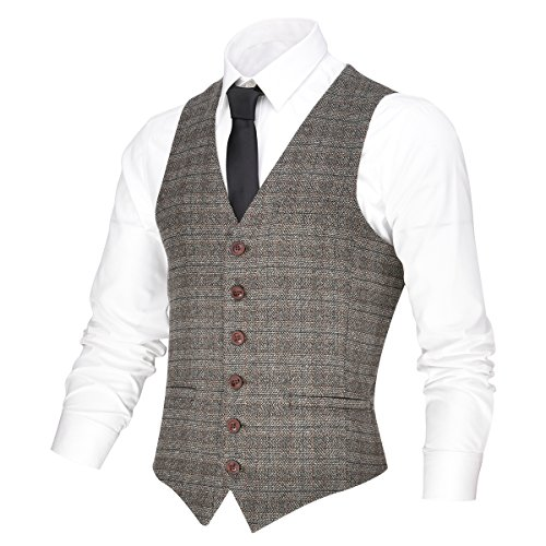 (VOBOOM Men's V-Neck Suit Vest Casual Slim Fit Dress 6 Button Vest Waistcoat (Brown, L))