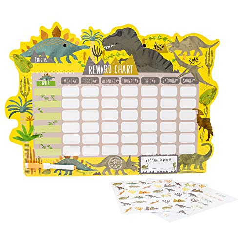 Floss & Rock Reward Chart with Dry Erase Pen and Stickers (Dinosaur)