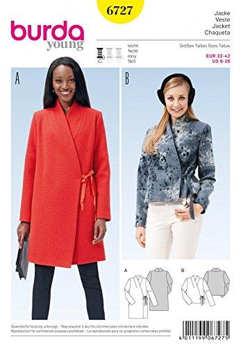 Burda Ladies Easy Sewing Pattern 6727 Side Tie Coat & Jacket