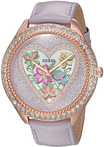 GUESS Women s U0908L1 Trendy Rose Gold-Tone Stainless Steel Watch with Analog Dial and Purple Strap Buckle
