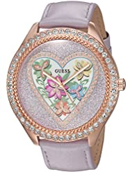 GUESS Womens U0908L1 Trendy Rose Gold-Tone Stainless Steel Watch with Analog Dial and Purple Strap Buckle