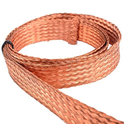 Wire Braided - Flat Copper Braid Cable Bare Ground Lead Wire 3 3ft 15mm - Color Straight Unleavened Unstimulating Bull Thin Matted Multidimensional Compressed Two-Dimensional - 1PCs (Spoon Braided)