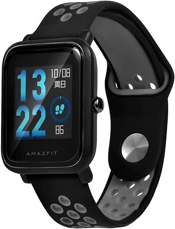 Troyalroom Strap for Amazfit Bip Youth - 20mm Silicone Replacement Strap for Galaxy Watch, Gear S2 Classic, Huawei Watch 2 (Black)