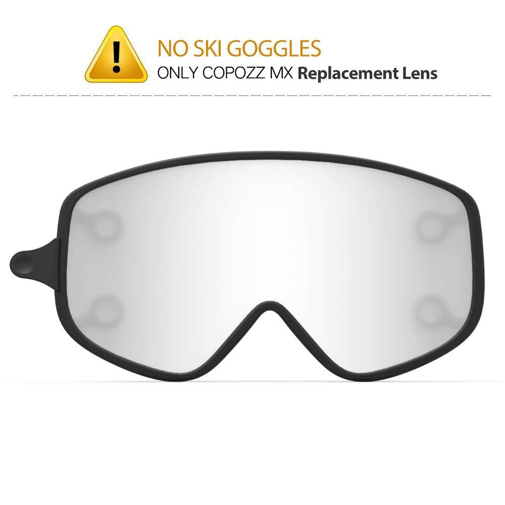 COPOZZ Ski Goggles, G1 OTG Snowboard Snow Goggles for Men Women Youth Anti-Fog UV Protection, Polarized Lens Available (MX Silver Lens Only (VLT 8%), MX Ski Goggles Lens) by COPOZZ