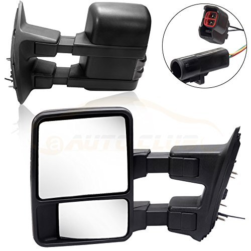 Towing Tow Mirrors Power Heated Dual Glass for 99-02 Ford F250 F350 F450 F550 Super Duty Left&right Passenger&driver Side View Mirror Pair Set Telescoping Folding Black Textured