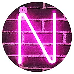 LED Neon Letter Light, USB Batteries Operated Marquee Letter Sign for Night Light Bright Lamp Words for Home, Hotel, Indoor Wall Decor-Pink Letter N