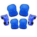 Dostar Kid's Adjustable Sports Safety Protective Gear Set - Children Knee Pads Elbow Roller Wrist Guards for Skating Cycling and Other Outdoor Sports as Birthday, Pack of 6 (Blue)