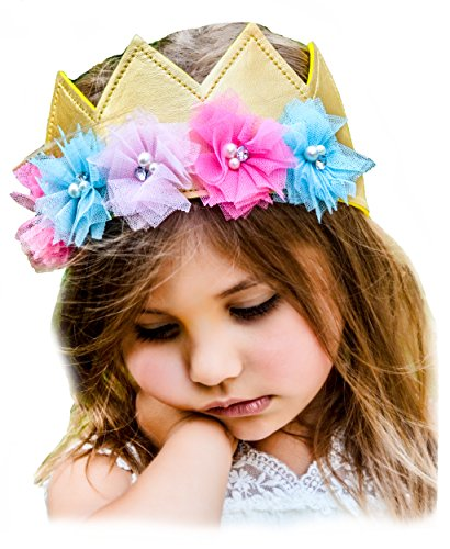 Crazy 8 Halloween Costumes (Girls Flower Crown Gold Birthday Princess Faux Leather Stretch Simply Gorgeous Floral 3D)