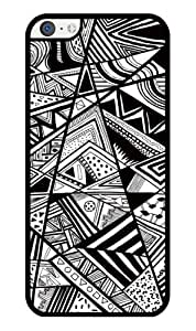 iZERCASE Geometric Shapes Black and White RUBBER iPhone 5C Case - Fits iPhone 5C T-Mobile, AT&T, Sprint, Verizon and International