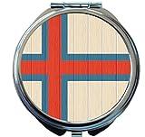 Rikki Knight Faroe Islands Flag on Distressed Wood Design Round Compact Mirror
