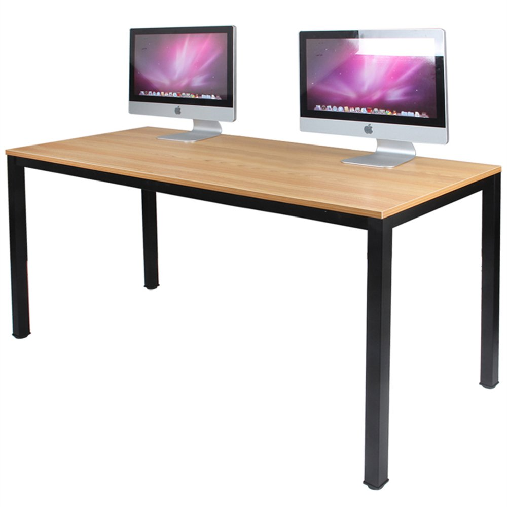 DlandHome 55 inches Large Computer Desk, Composite Wood Board, Decent and Steady Home Office Desk/Workstation/Table, BS1-140TB Teak and Black Legs, 1 Pack by DlandHome