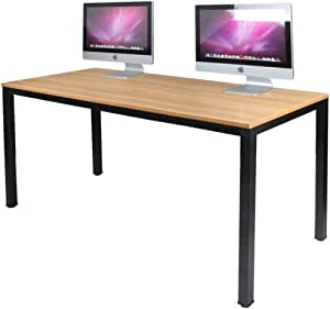 Dlandhome 63 Inches X Large Computer Desk Composite Wood Board Decent And Steady Home Office Desk Workstation Table Bs1 160tb Teak And Black Legs 1 Pack Office Products Amazon Com