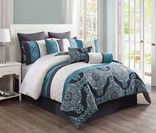 KingLinen 10 Piece Queen Justine Charcoal and Teal Reversible Comforter Set (Queen Ensemble Comforter)