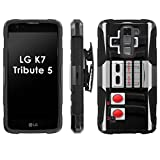 LG k7 Tribute 5 Phone Cover, NES Video Game Controller- Black Blitz Hybrid Armor Phone Case for [LG k7 Tribute 5] with [Kickstand and Holster]