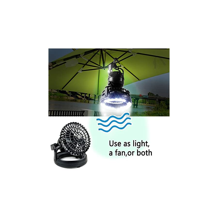 Image Portable LED Camping Lantern with Ceiling Fan, Hurricane Emergency Survival Kit