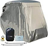 COVRIR Ultra-Tech Universal 4 Passenger (EZ GO, Club Car, Yamaha) Golf Cart Storage Cover Kit. Complete With Storm Protection Bungee Cords, UV & Waterproof Protection, Lock and Patch Kit. Grey.