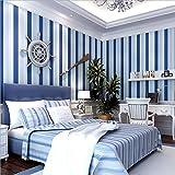 自己接着の不織布壁紙地中海風のストライプの壁紙のブルーラインの格子