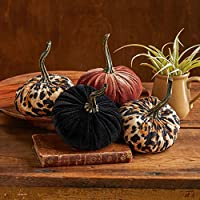 Small Fabric Pumpkins Set of 4 Includes Black, Bronze and 2 Leopard Print, Rustic Table Decor, Fall Halloween Thanksgiving Centerpiece, Country Home Decor, Rustic Gift Set
