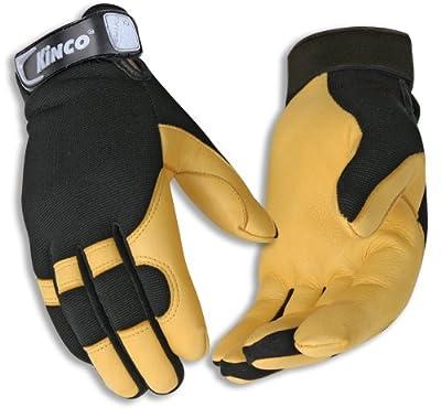 Kincopro Men's Unlined Grain Deerskin Leather Drivers Work Gloves