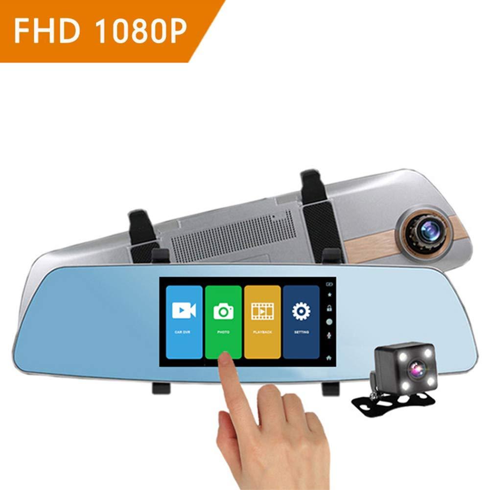 Xwly-Dr Coche Dash CAM 5, 0 Pulgadas De Pantalla Táctil De Doble Lente Full HD 1080P 170 ° Granangular Retrovisor Ayuda De Inversión Espejo Parking Vigilancia G-Sensor Loop Video Night Vision