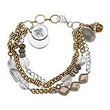 "Silpada 'Garden Party' Sterling Silver, Brass, Multi-Stone Multi-Strand Bracelet, 9"""