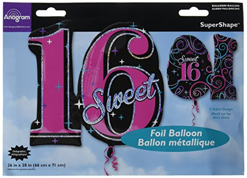 Anagram International Sweet 16 Sparkle Holographic Shape Balloon, 28