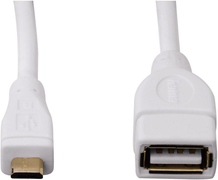 Black 0.15 m A-Socket Micro-Plug Hama USB 2.0 OTG Adapter Cable
