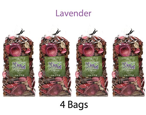 Hosley Lavender Potpourri - Set of 4/4 oz each. Value Pack bulk buy. Infused Essential Oils. Ideal GIFT Weddings, Spa, Reiki, Meditation Settings O4 by Hosley