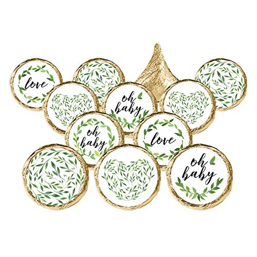 Greenery Baby Shower Favor Stickers, 324 Count