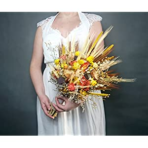 Big Summer Fall Autumn Colors Bouquet Dried Flowers Rustic Orange Yellow Wheat 91