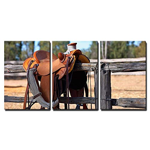 3 Piece Canvas Wall Art Paintings, a Western Style Saddle Siting Upon a Country Fence Beside a Riding Arena, Modern Home Decor Stretched and Framed Ready to Hang Wall Decor, 12''x 16''x3 Panels