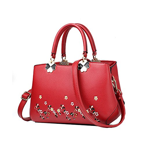 Anne - Bolso al hombro de Material Sintético para mujer negro Grey flower Wine red flower