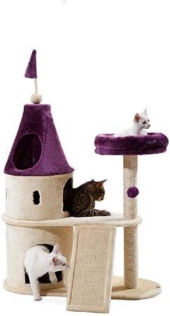 HEG-Árboles para gatos Gato Escalada Marco Castillo Rosa tamaño Gato Gato camada Gato árbol casa un sisal de Madera sólida (Color : Púrpura): Amazon.es: Hogar