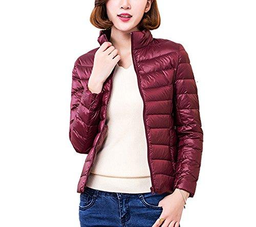 Red Lightweight Jacket Stand Winter Down Women's Jacket Wine Coat Packable Collar Misschicy Puffer 6wX7qX