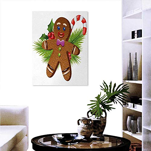 Warm Family Gingerbread Man Wall Art Stickers Cute Tasty Pastry on Coniferous Branches Candy Cane Holly Berry Decorate Stickers Wall 24