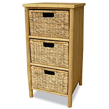 Charmant Bamboo Storage Drawer   3 Drawer Storage Chest With Rattan Baskets   Brown