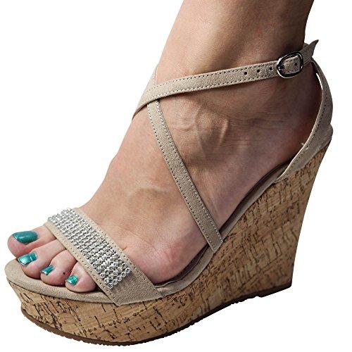 Schuhtraum Damen Sandalen Keilabsatz Glitzer Sandaletten Wedge High Heels ST703 Beige