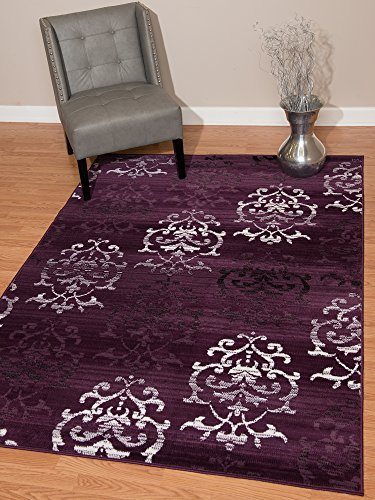 United Weavers of America Dallas Countess Rug - 7ft. 10n. X 10ft. 6in, Plum, Area Rug with Abstract Pattern, Jute Backing ()