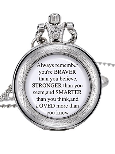 Hicarer Pocket Watch Chain You are Braver Stronger Smarter Than You Think Personalised Pocket Watch for Women Men (Silver) -