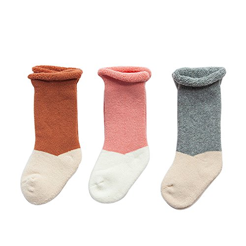 FQIAO Baby Socks Cute Cotton Thick Warm Soft Unisex Stretchable 3 Pack for Autumn Winter XS Size 0-6 Month