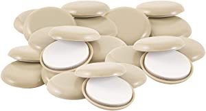 """Super Sliders 4602995A 1-11/16 Inch Round Self Stick Furniture Sliders to Move Items Easily Across Carpet, 1-11/16"""", 24 Pack, Beige, 24 Count"""