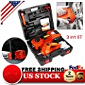 GDAE10 Electric Car Jack and Wrench Set, 3 in1 5T Electric Hydraulic Floor Jack Lift Lifting Set with Impact Wrench and Box DC 12V (US Stock)