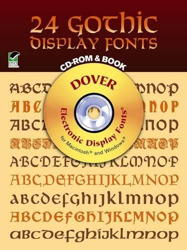 24 Gothic Display Fonts CD-ROM and Book (Dover Electronic Clip Art) by Dover Publications