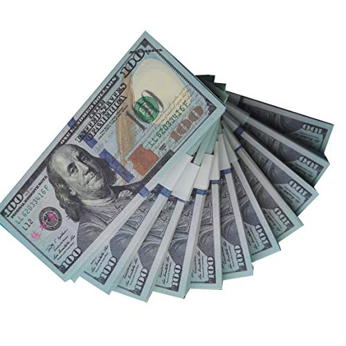 Money 100 Dollar Bills Movie Prop Money Full Print 2 Sided Realistic Money Stacks,Copy Money Play Money That Looks Real,Toy Money,New Published Thickening ()
