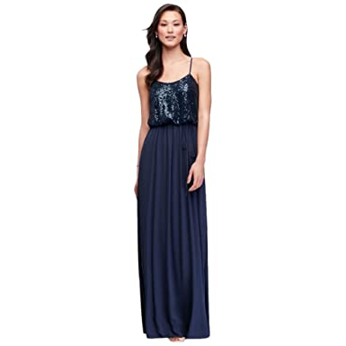 2202fa16 David's Bridal Long Sequin Blouson Bridesmaid Dress Style F19788, Navy, ...
