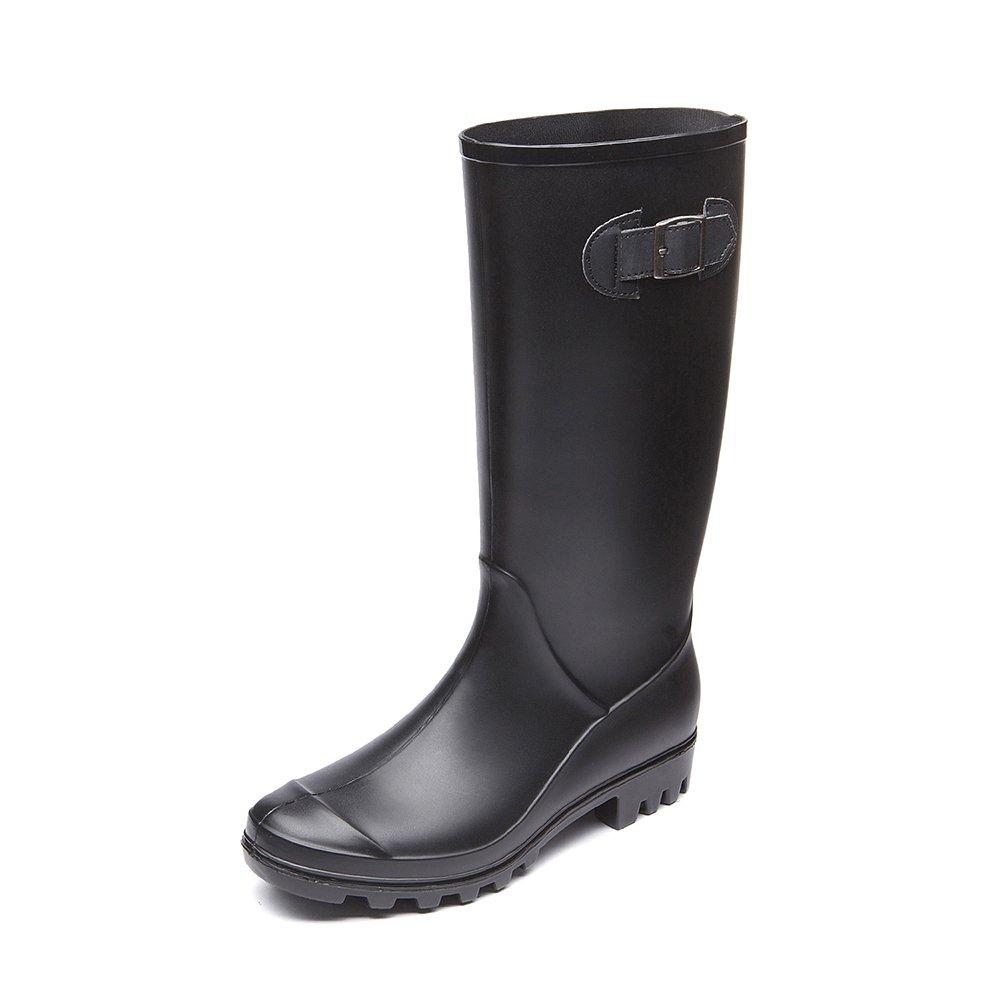 DKSUKO Women's Boots - 8 Colors - Knee High Waterproof Hi-Calf Rainboots FMG002X (7 B(M) US, Black)