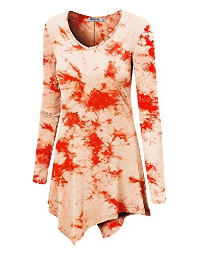WT1062 Womens V Neck Long Sleeve Tie Dye Handkerchief Hem Tunic S WHITE_CORAL (Kaktus Clothing)