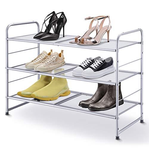 Simple Trending 3-Tier Stackable Shoe Rack, Expandable & Adjustable Shoe Shelf Storage Organizer, Metal Mesh, Silver